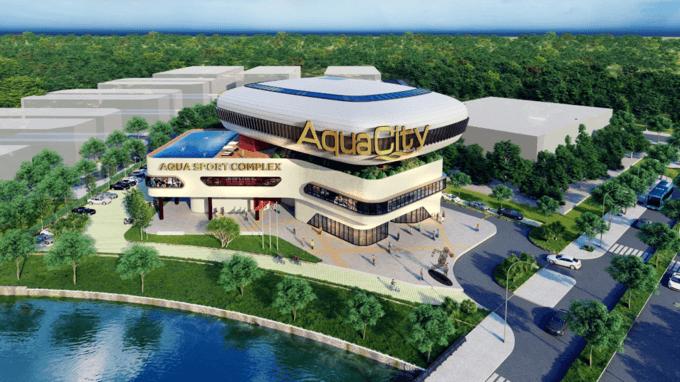 Phối cảnh khu thương mại trung tâm thể thao bên trong Aqua City.