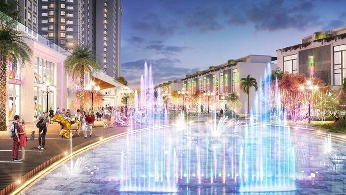 Tuyến phốquy tụ nhiều nhà hàng ẩm thực, cửa hàng thời trang, tiện ích vui chơi... tại khu khu đô thị Ecopark dự kiến thu hút hàng triệu lượt khách mỗi năm.