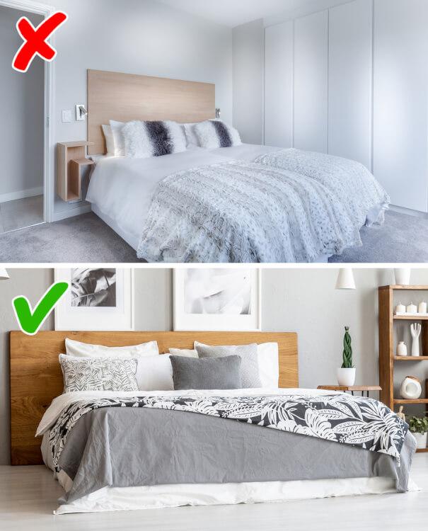 Hình ảnh phòng ngủ phong cách tối giản trước và sau khi thêm tranh tường, kệ gỗ, cây xanh