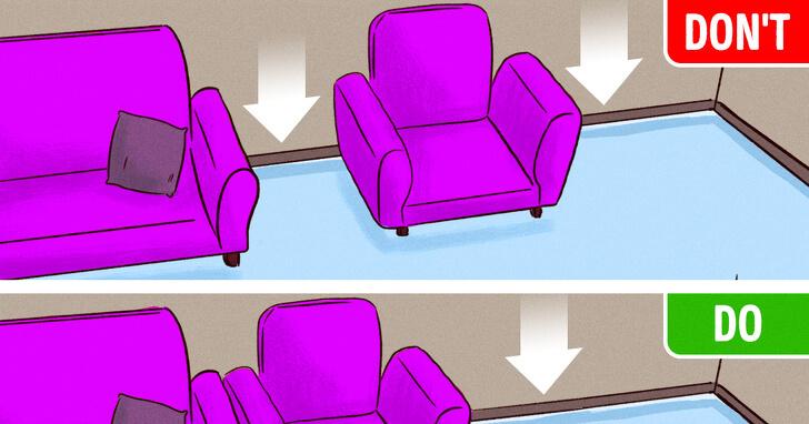 Ảnh minh họa cho việc kê ghế sofa sát nhau tốt hơn là tạo ra khe hở