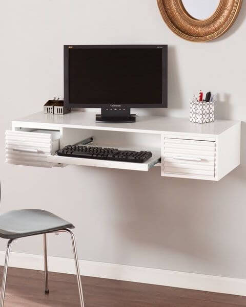 Hình ảnh bàn làm việc có ngăn kéo đặt bàn phím
