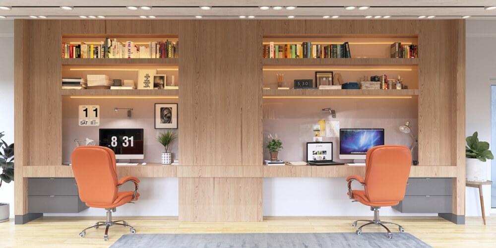 Hình ảnh văn phòng tại nhà cho 2 người với ghế màu cam nổi bật