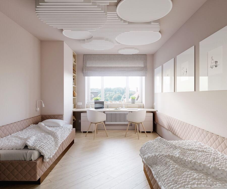 Hình ảnh văn phòng tại nhà cho 2 tích hợp trong phòng ngủ