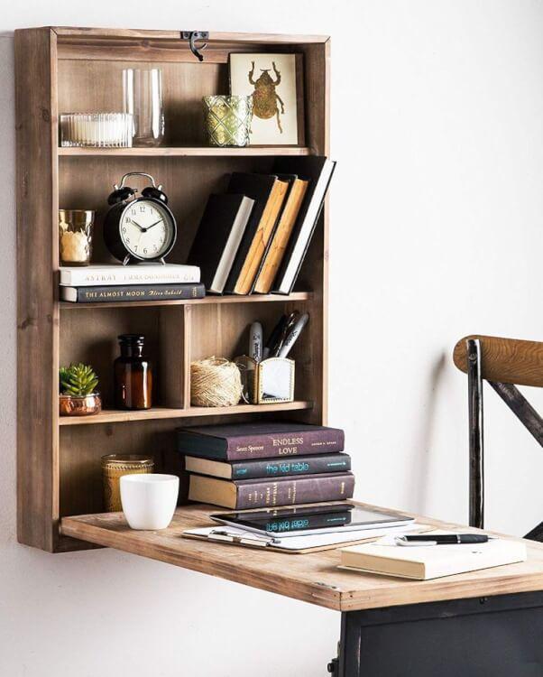 Hình ảnh cận cảnh mẫu bàn làm việc gắn tường dành cho căn hộ nhỏ