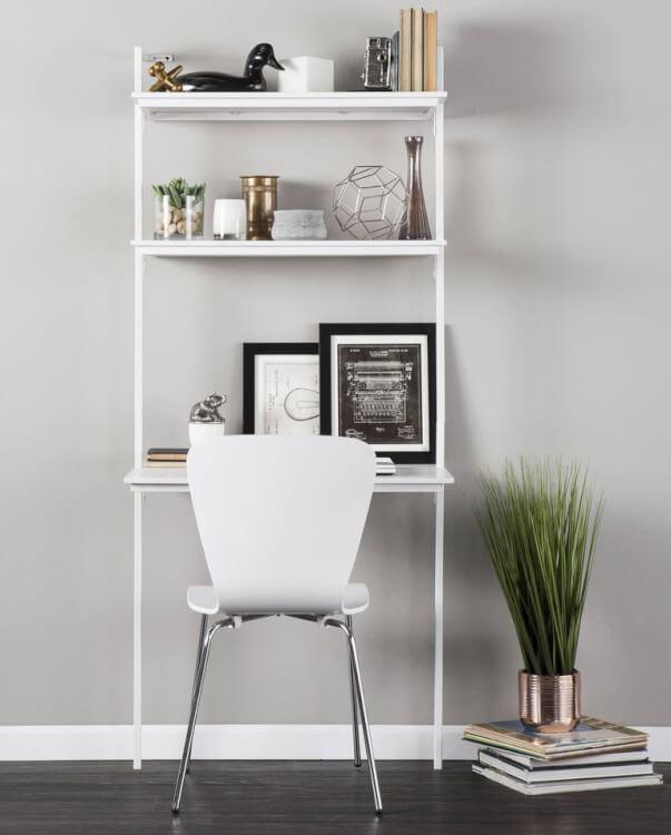 Hình ảnh cận cảnh bàn làm việc dạng thang gắn tường tiện dụng