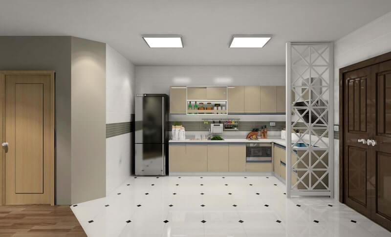 Hình ảnh phòng bếp hiện đại với sàn họa tiết đen, đèn vuông ốp trần