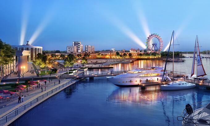 Bến du thuyền 5 sao là tiện ích nổi bật của một khu đô thị ven sông đáp ứng chuẩn sống thượng lưu.
