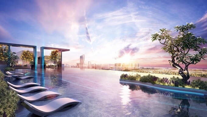 Sky Oasis là toà tháp đôi cao cấp nhất Ecopark. Dự án này nằm bên bờ vịnh đảo với không gian mặt nước 350.000 m2. Toàn bộ căn hộ có tầm nhìn ra khu biệt thự đảo, hồ Thiên Nga hoặc sông Hồng. Chủ đầu tư bố trí loạt tiện ích đa tầng như hồ bơi chân mây nối hai tòatháp, đường dạo bộ trên độ cao gần 200m, vườn trên không trên tầng 21, hồ bơi nhiệt đới trên tầng 3.