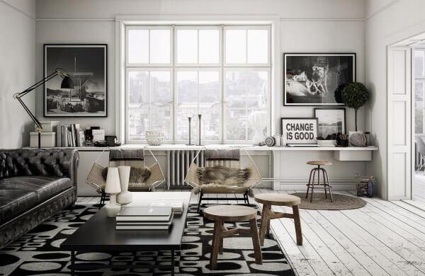 Hình ảnh phòng khách màu xám, trắng, gỗ chủ đạo với cửa sổ kính lớn, trang trí đối xứng hai bên