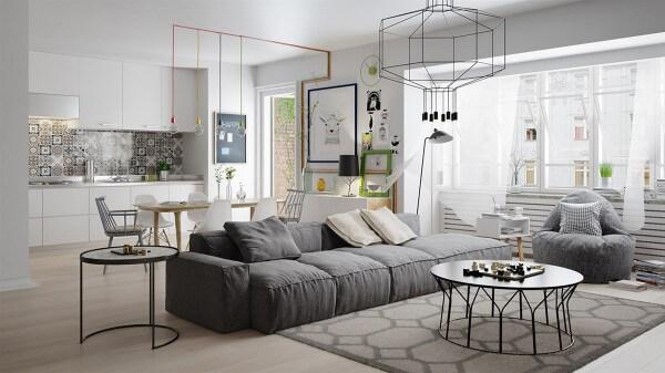 Hình ảnh toàn cảnh phòng khách màu xám với sofa lớn, đèn chùm màu đen