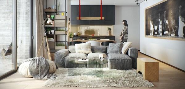 Hình ảnh phòng khách phong cách Bắc Âu hiện đại với sofa xám, bàn trà trong suốt đặt trên thảm trải lông mềm mại