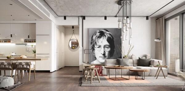 Hình ảnh phòng khách màu xám với bàn trà gỗ và đèn thả tạo điểm nhấn