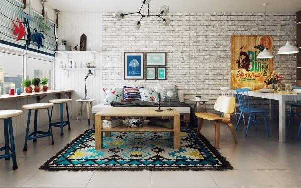 Hình ảnh phòng khách phong cách Bắc Âu phá cách với thảm trải màu sắc, tranh treo tường ấm áp, bộ chậu cây rực rỡ