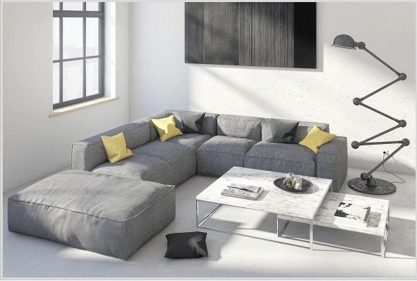Hình ảnh phòng khách kết hợp giữa phong cách Bắc Âu và tối giản với sofa xám êm ái, đèn sàn độc đáo