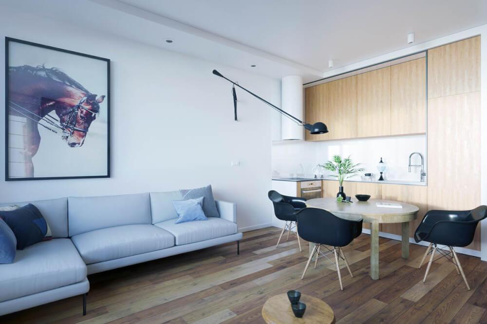 Hình ảnh mẫu phòng khách kết hợp phòng ăn dành cho căn hộ studio nhỏ với ghế ăn màu đen nổi bật