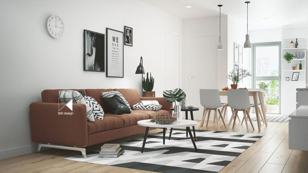 Hình ảnh phòng khách kết hợp không gian ăn uống với sofa nâu, bàn trà tròn,thảm đen - trắng, đồng hồ và tranh tường, cạnh đó là bàn ăn 4 người