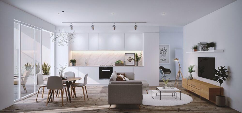 Hình ảnh phòng khách và bếp ăn kết hợp với đèn thả trần tạo điểm nhấn