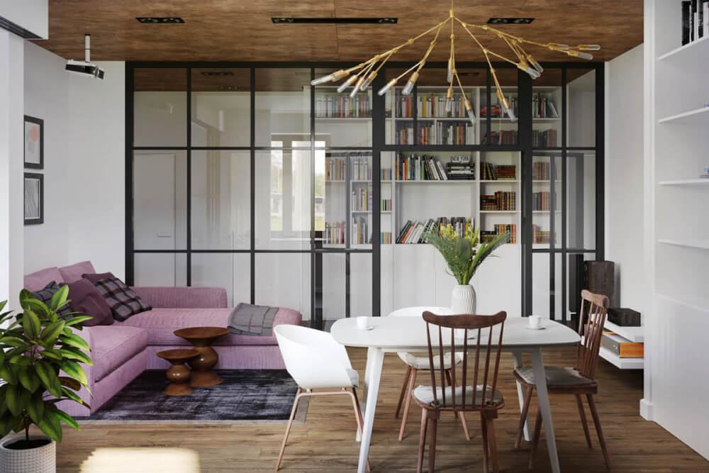 Hình ảnh phòng khách hiện đại với sofa màu tím nổi bật, cạnh đó là bàn ăn nhỏ xinh
