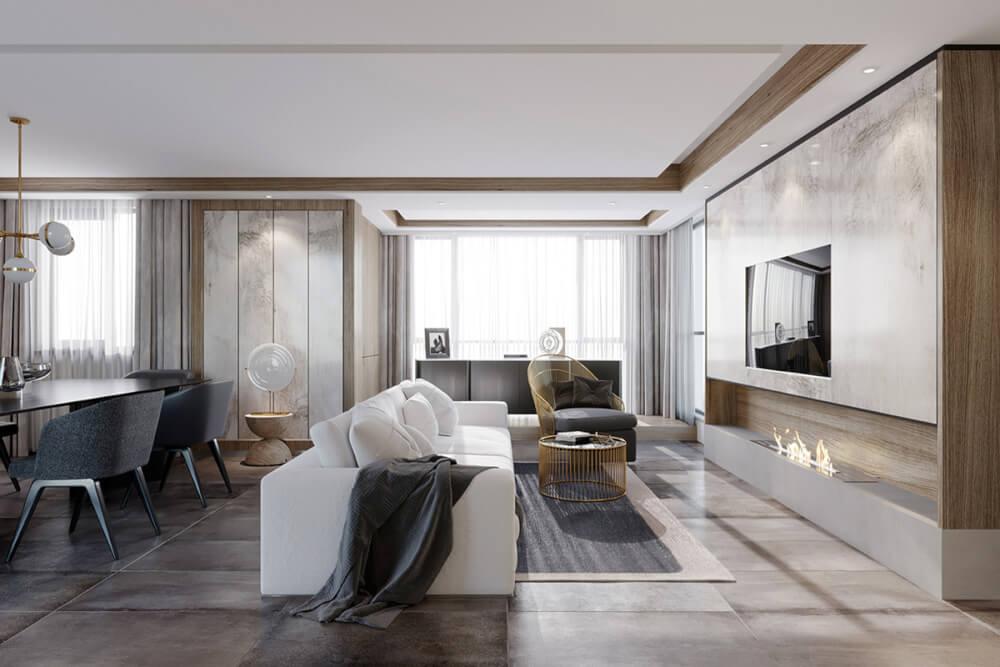 Hình ảnh toàn cảnh phòng khách liên thông khu bếp ăn trong căn hộ chung cư với nội thất hiện đại, đèn trang trí bắt mắt.