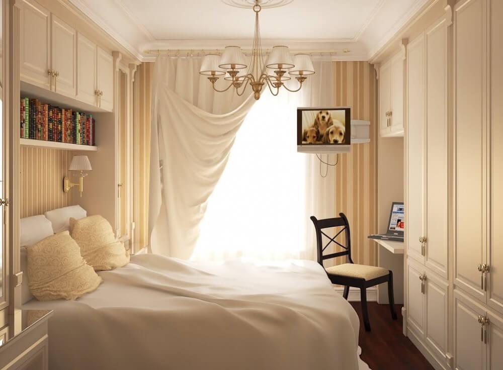 Hình ảnh phòng ngủ nhỏ với ga gối, rèm màu trắng, tủ đầu giường và tủ quần áo cùng tông màu trắng chủ đạo