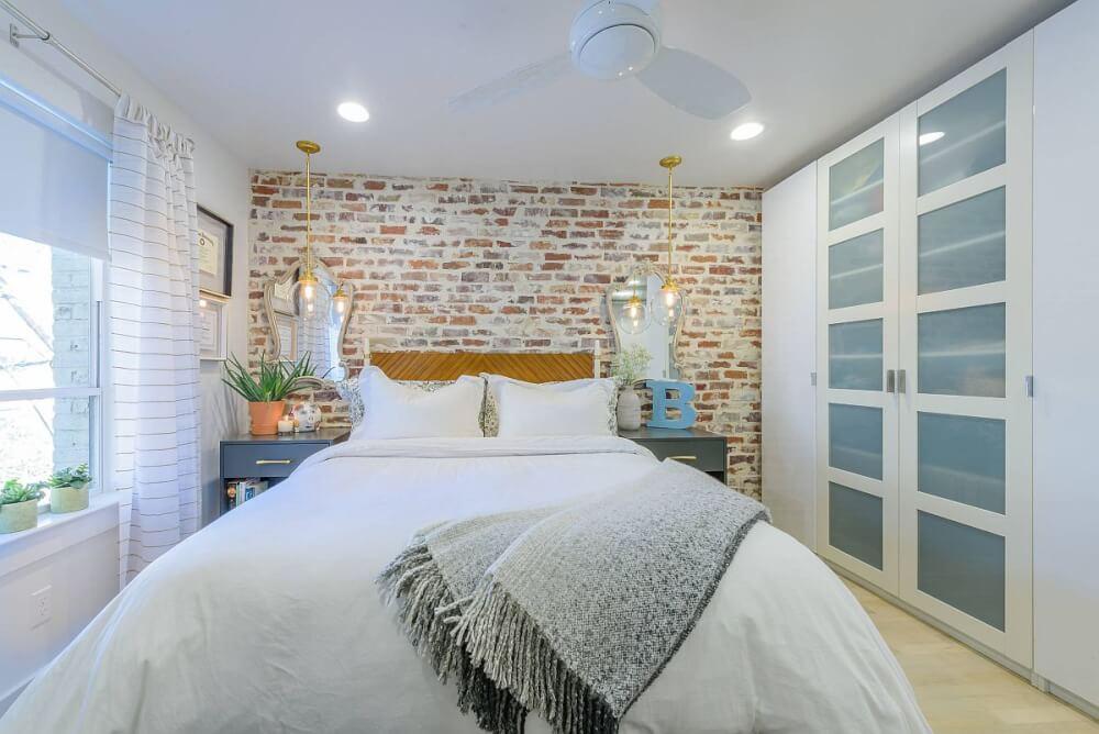 Hình ảnh phòng ngủ ấn tượng với bức tường gạch đầu giường