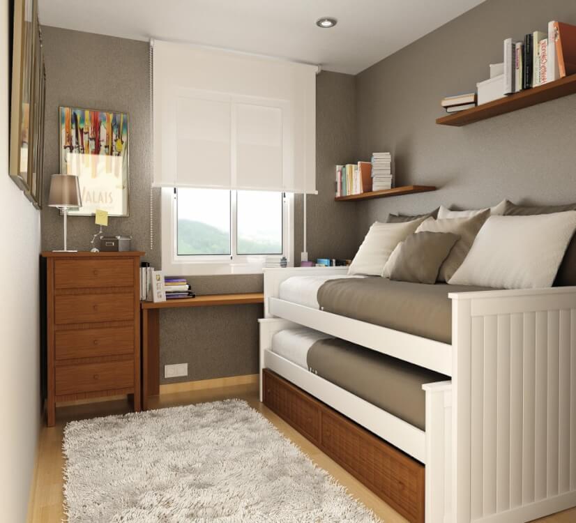 Hình ảnh phòng ngủ nhỏ tông màu xám trắng sử dụng giường tầng hiện đại