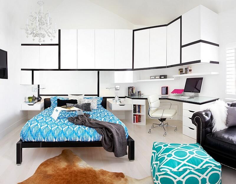 Toàn cảnh phòng ngủ màu trắng, điểm nhấn xanh da trời, bàn làm việc tiện nghi