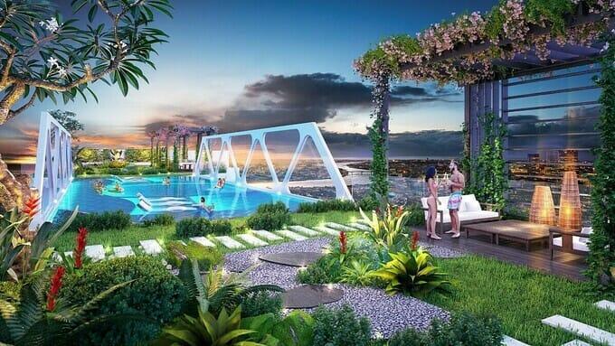 Cũng theo chủ đầu tư, ngoài tòa tháp đôi với loạt các tiện ích đắt giá chưa từng có Hà Nội, dự án còn mang đến những tiện ích khác biệt như hồ bơi giữa không trung ở độ cao gần 200 m, vườn dạo bộ chân mây, vườn địa đàng giữa mây trời, hồ cảnh quan 50 ha cùng đại công viên... đều sẽ được triển khai tại tòa tháp đôi cao cấp nhất Ecopark.