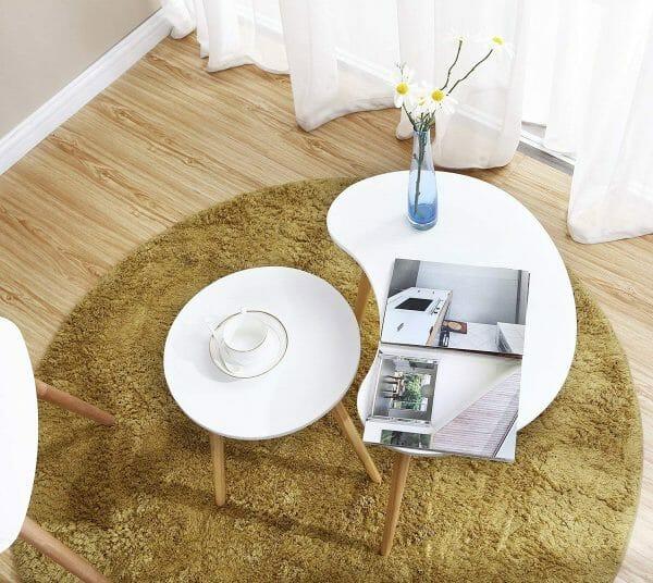 hình ảnh mẫu bàn cà phê độc đáo màu trắng dạng lồng