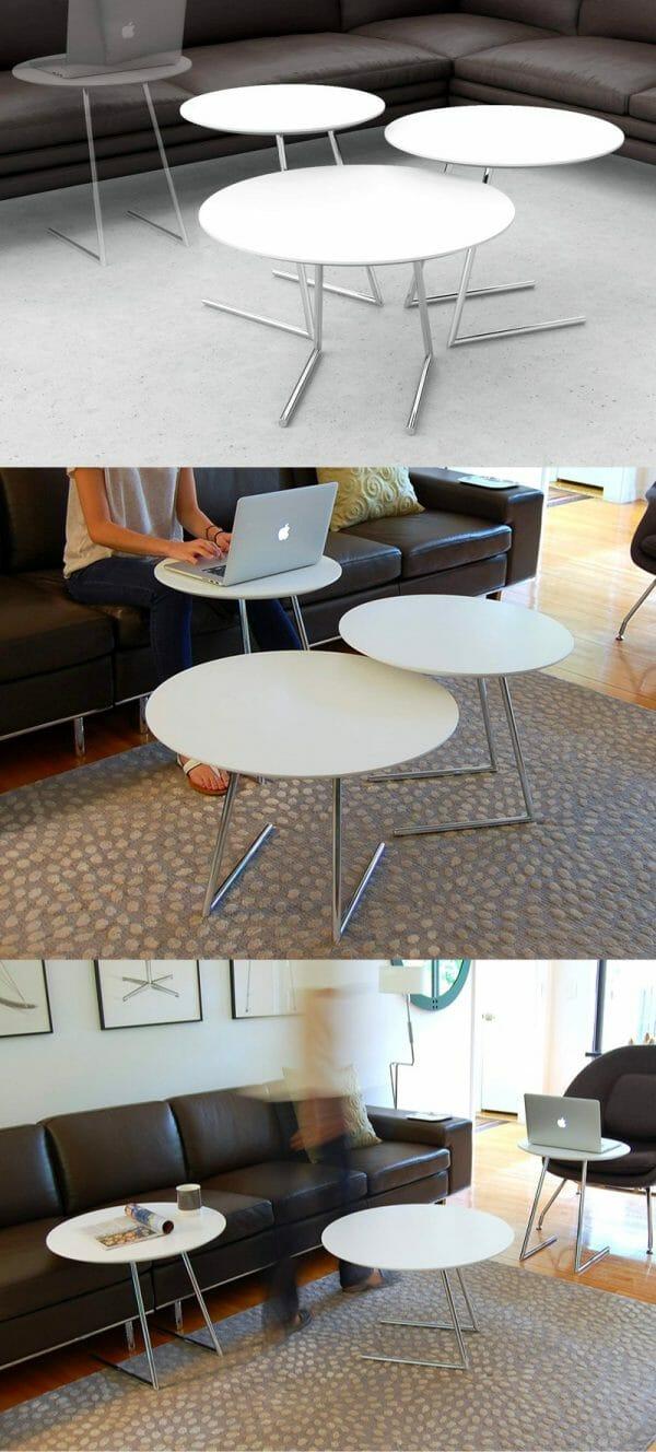 Hình ảnh bộ bàn lồng đa năng màu trắng với phần chân kim loại trượt
