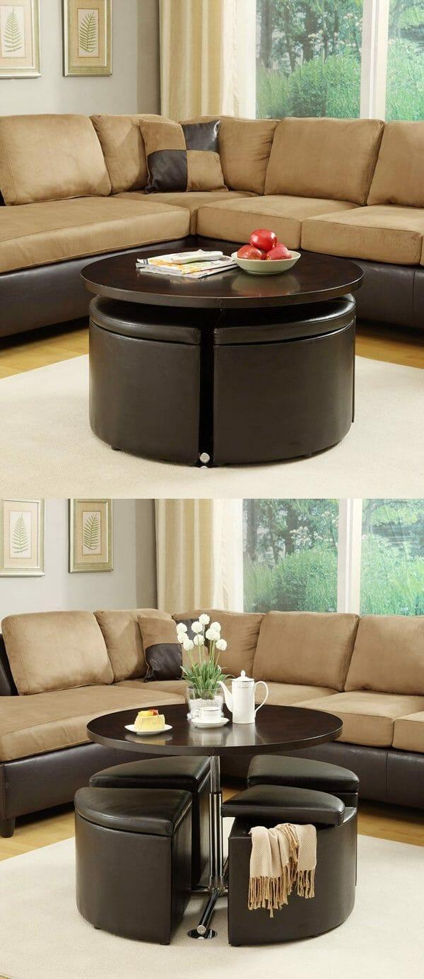 Hình ảnh Mẫu bàn cà phê có thể điều chỉnh chiều cao màu đen bọc da, dưới có 4 ghế otttoman
