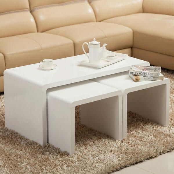 Hình ảnh mẫu bàn cà phê lồng màu trắng đa năng