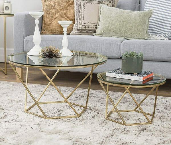 hình ảnh mẫu bàn cà phê đôi hình tròn mặt kính, chân kim loại sáng bóng