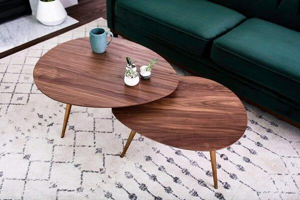 Hình ảnh mẫu bàn cà phê phong cách Bắc Âu bằng gỗ, hình quả trứng