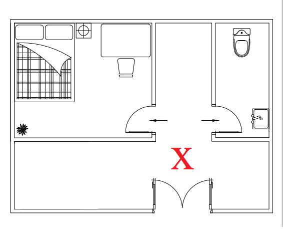 Cửa nhà vệ sinh đối diện với cửa phòng ngủ sẽ làm ảnh hưởng đến sức khỏe.
