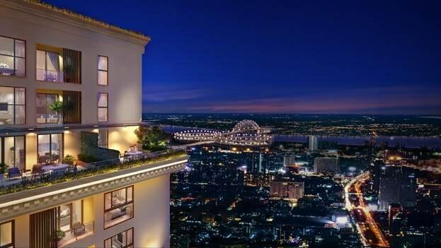 Ban công tầng 20 của toà căn hộ BRG Legend.