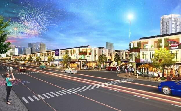 Trục chính của Bình Dương Avenue City bố trí các shophouse kinh doanh sầm uất.