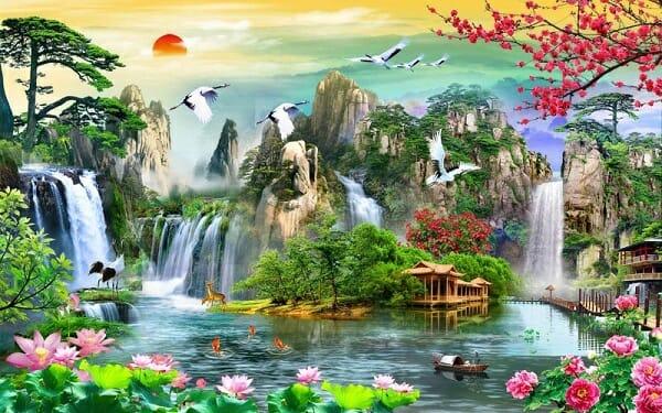 10 chiếc tranh sơn thủy hữu tình đẹp, ý nghĩa