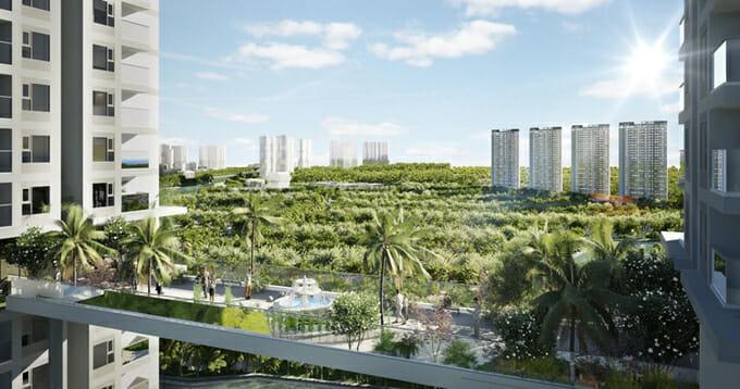 Tại tầng 21, chủ đầu tư Ecopark xây dựng thêm một cây cầu trên không nối giữa 2 tòa tháp.