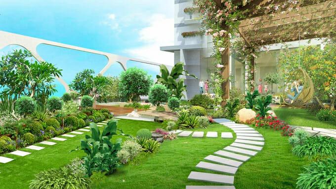 Trên cây cầu này, một khu vườn địa đàng quy mô lớn được phát triển với không gian thiền, vườn dạo bộ, ốc đảo dưỡng sinh và yoga.