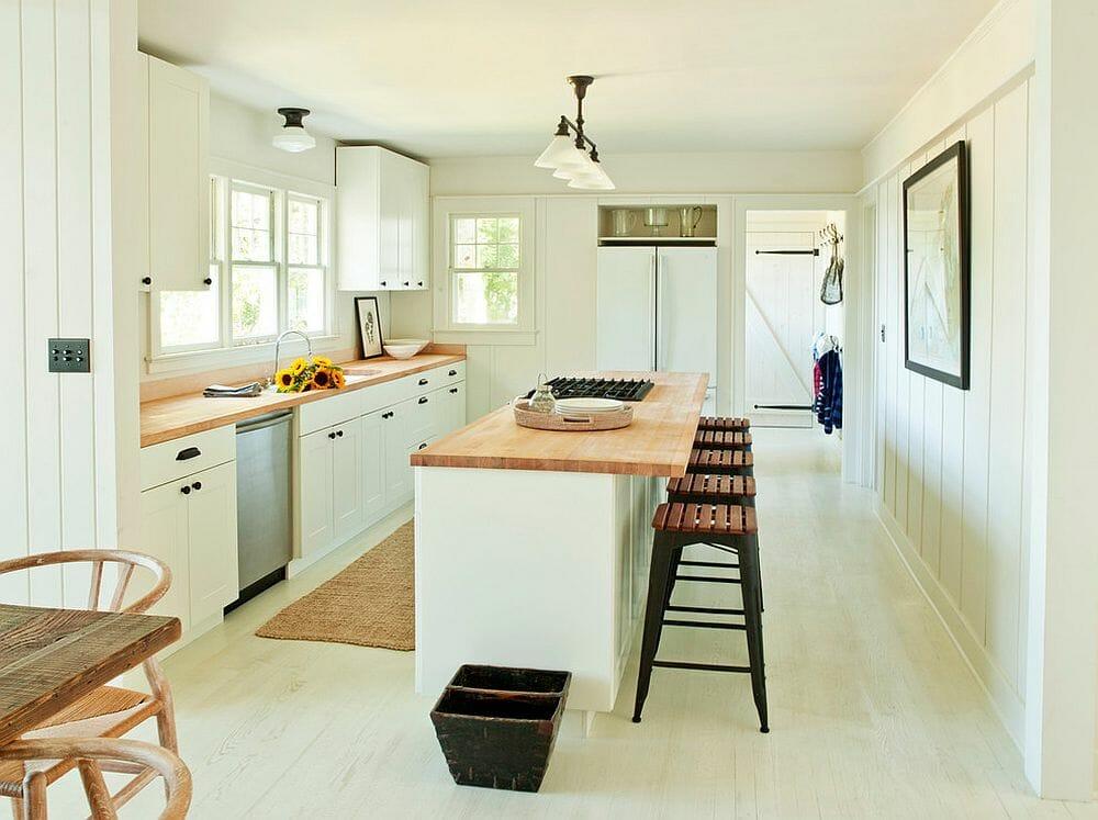 hình ảnh phòng bếp màu trắng kết hợp vật liệu gỗ tự nhiên