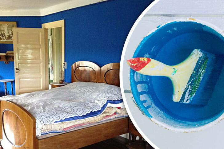 hình ảnh tường phòng ngủ được sơn màu xanh dương
