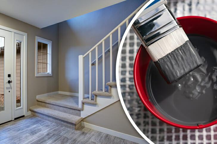 hình ảnh lối vào nhà, hành lang được trang trí với tông màu xám thanh lịch