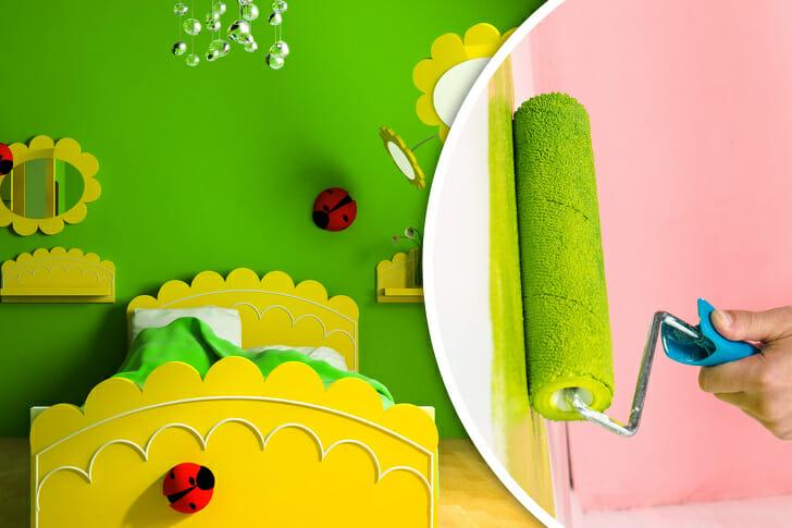 hình ảnh minh họa cho việc trang trí phòng ngủ của trẻ với tông màu xanh lá cây