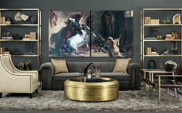 hình ảnh phòng khách ấn tượng với tranh tường chủ đề động vật