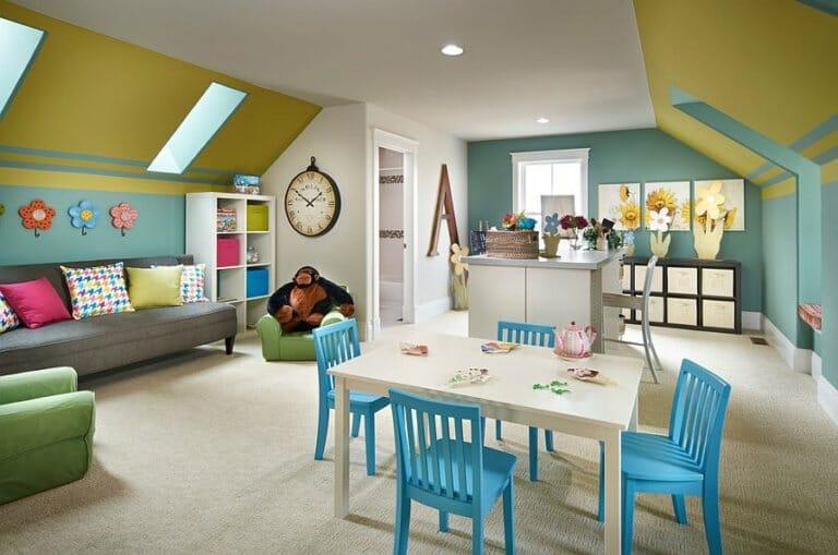 hình ảnh bên trong phòng sinh hoạt chung kiêm phòng chơi cho bé trên gác mái