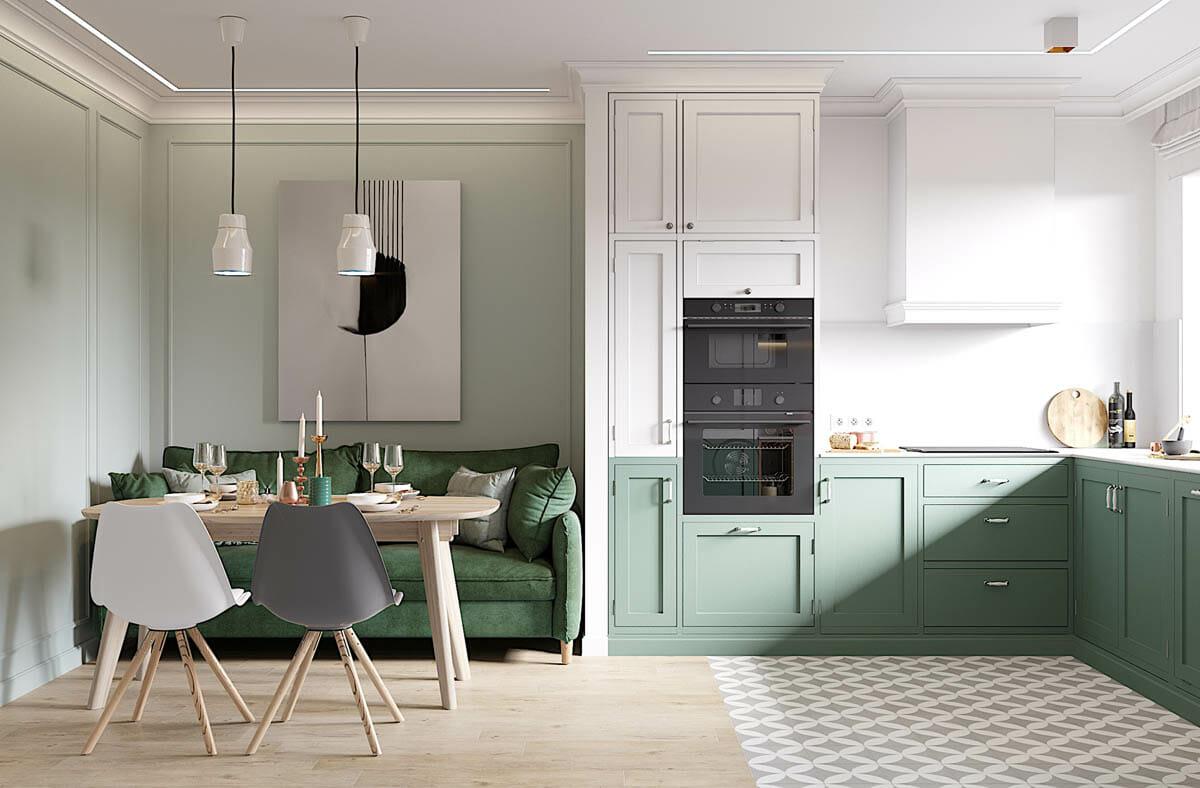 hình ảnh phòng khách mùa hè phong cách Bắc Âu với tông màu xanh lá tạo điểm nhấn