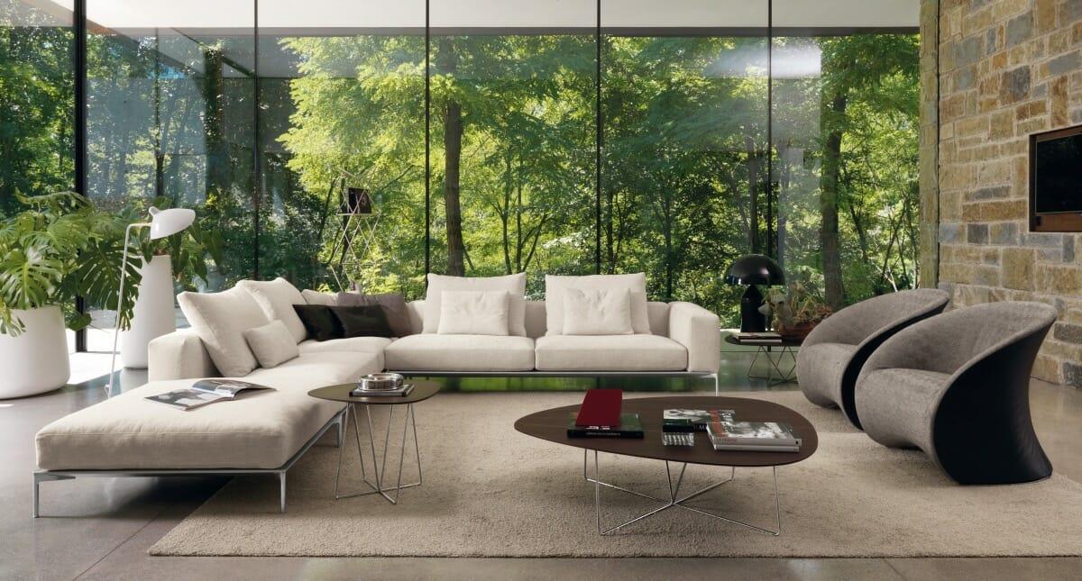 hình ảnh phòng khách với tranh tường 3D phong cảnh rừng nhiệt đới