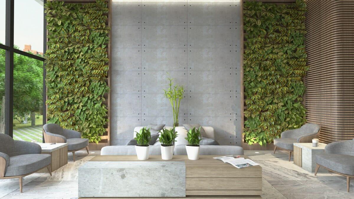 hình ảnh phòng khách ấn tượng với tường bê tông tạo điểm nhấn