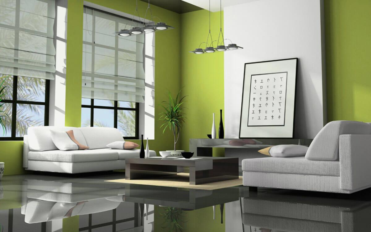 hình ảnh toàn cảnh phòng khách phong cách Á Đông với tông màu xanh lá kết hợp trắng, xám